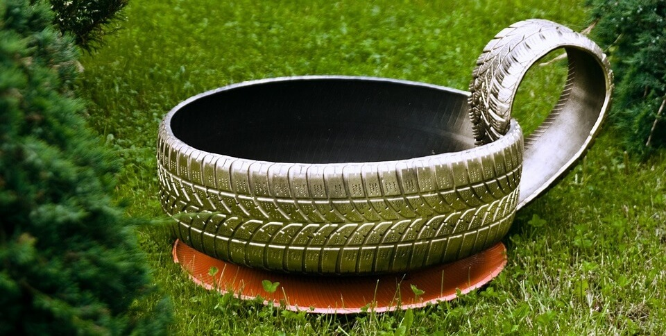 Tyre used in the garden