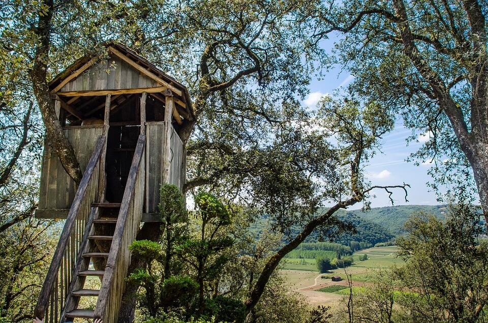 Built treehouse in the garden
